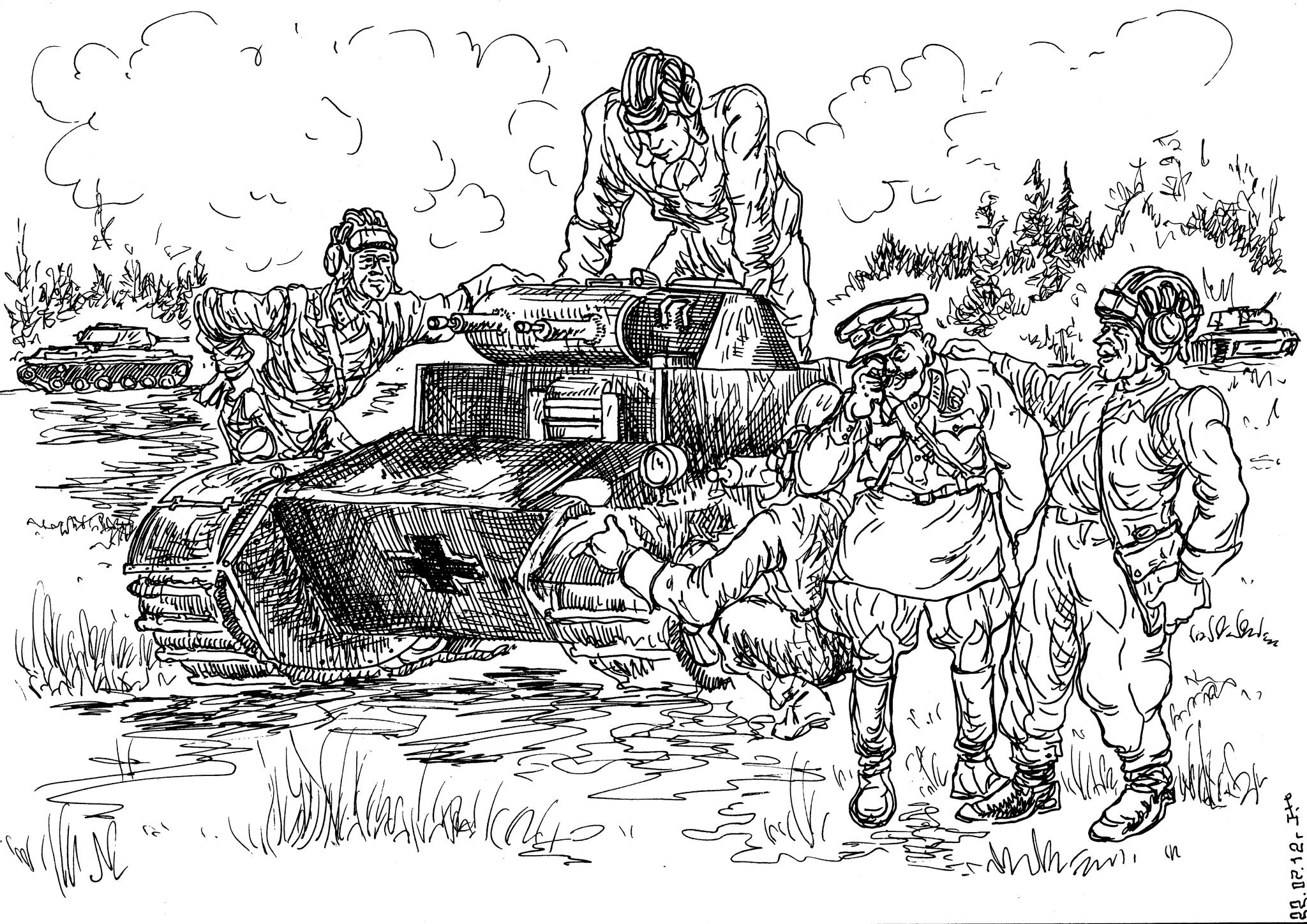 Советские танкисты смеются над тем, чем фашисты хотели запугать Красную Армию