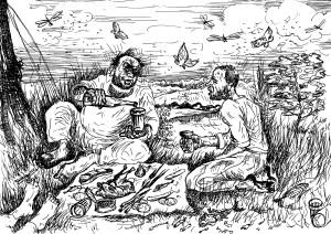 Репродукция на тему известной картины художника-передвижника В.И.Перова «Охотники на привале»