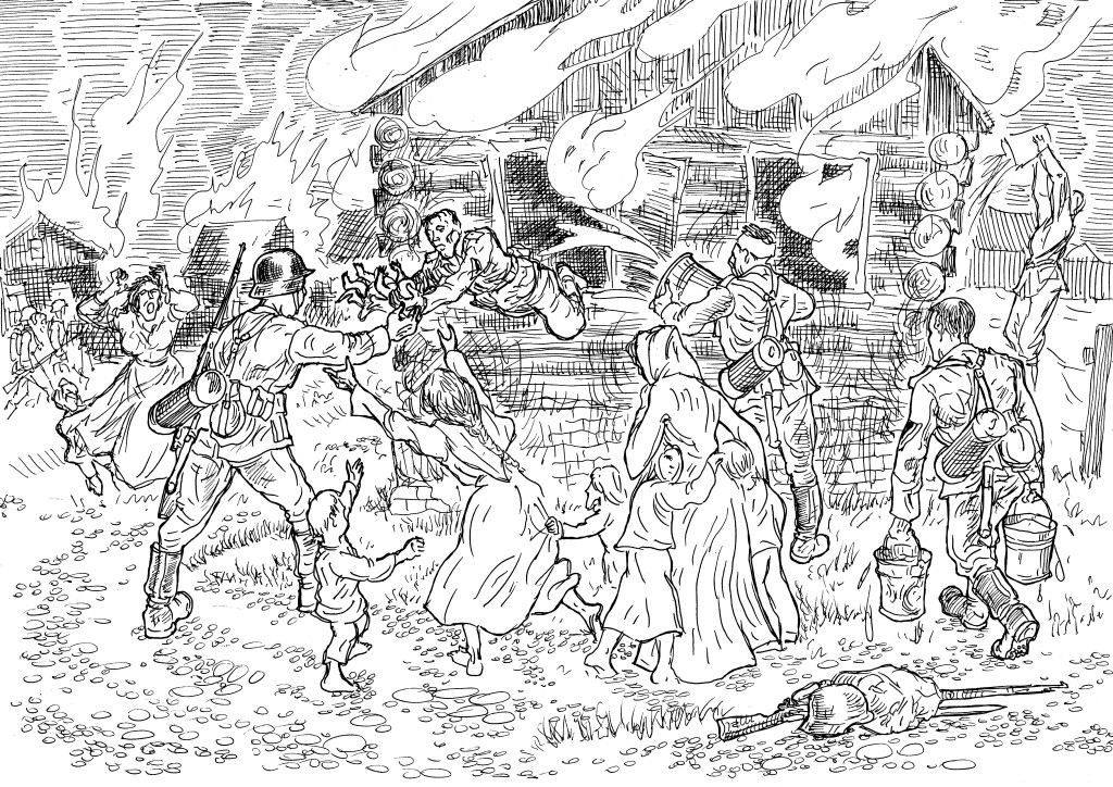 Солдаты Вермахта спасают детей и дома, подожжённые отступающими войсками РККА
